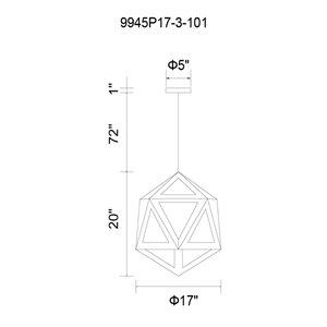 CWI Lighting Lante 3 Light  Pendant with Black & Wood finish