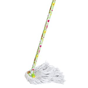 Superio Cotton String Mop with Flower Print Handle