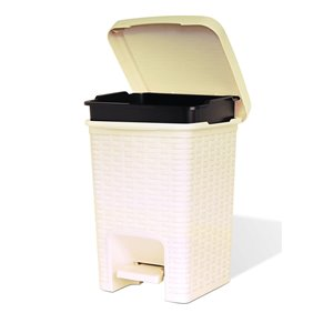 superio trash can - step lid - 11-in - 7.5-l - beige