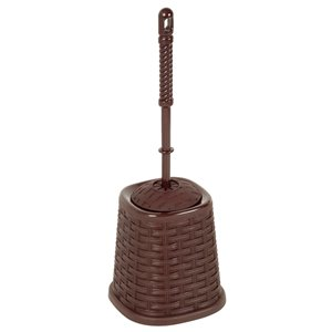 Superio Toilet Brush with Brush Holder - Wicker Style - Brown