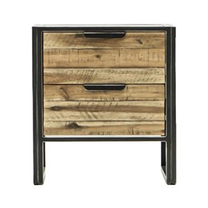LH Imports Jaxon Nightstand - 2-Drawer - 21.4-in - Brown