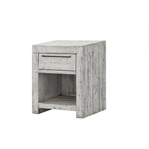 LH Imports Malibu Nightstand - 1-Drawer - 21.6-in - Rustic White