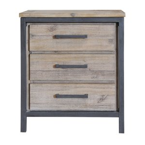 LH Imports Irondale Nightstand - 3-Drawer - 23.5-in - Mocha Grey