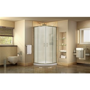 DreamLine Prime Corner Sliding Shower Enclosure in Brushed Nickel with White Base Kit - Frosted Glass - 38-in W