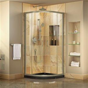 DreamLine Prime Corner Sliding Shower Enclosure - Brushed Nickel - Clear Glass - Black Base Kit - 38-in W