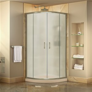 DreamLine Prime Corner Sliding Shower Enclosure in Brushed Nickel with Biscuit Base Kit - Frosted Glass - 36-in