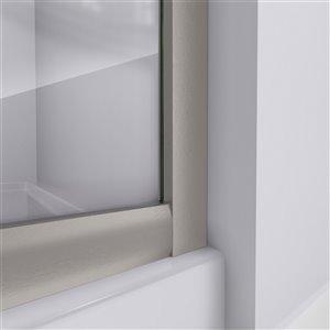 DreamLine Prime Corner Sliding Shower Enclosure - Brushed Nickel - White Base Kit - Frosted Glass - 36-in