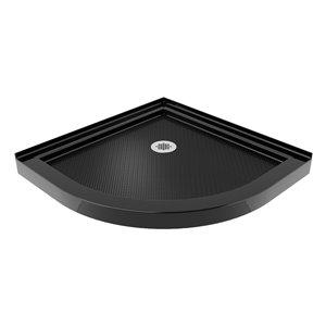 DreamLine Prime Semi-Frameless Corner Sliding Shower Enclosure in Brushed Nickel with Black Base Kit - 33-in
