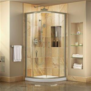 DreamLine Prime Semi-Frameless Corner Sliding Shower Enclosure in Brushed Nickel with White Base Kit - 33-in