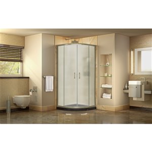 DreamLine Prime Corner Sliding Shower Enclosure in Brushed Nickel with Black Base Kit - Frosted Glass - 36-in
