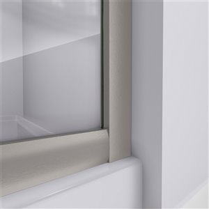 DreamLine Prime Corner Sliding Shower Enclosure - Brushed Nickel - White Base Kit - Frosted Glass - 33-in
