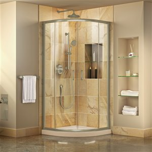 DreamLine Prime Corner Sliding Shower Enclosure in Brushed Nickel with White Base Kit - Clear Glass - 38-in W