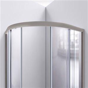 DreamLine Prime Corner Sliding Shower Enclosure in Brushed Nickel with Black Base Kit - Frosted Glass - 38-in W