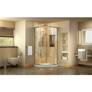 DreamLine Prime Corner Semi-Frameless Sliding Shower Enclosure in Brushed Nickel with Shower Base White - 36-in