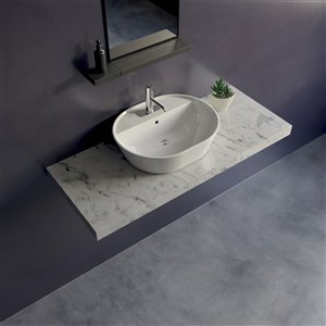 Cheviot Geo 2 Overcounter Bathroom Sink - Fire Clay - 16.87-in x 21.5-in - White