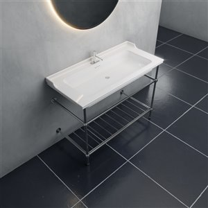 Cheviot Valarte Console Bathroom Sink - Fire Clay - 20.87-in x 31.25-in - White
