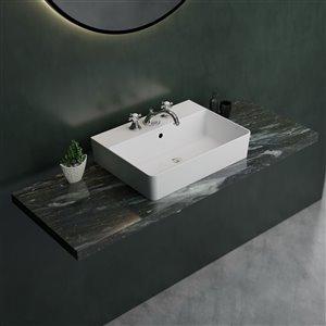 Cheviot Nuo 2 Vessel Bathroom Sink - 17.37-in x 23.62-in - White