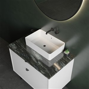 Cheviot Nuo 2 Vessel Bathroom Sink - Fire Clay - 14-in x 23.62-in - White