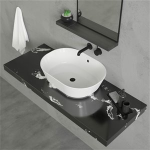 Cheviot Geo 2 Overcounter Bathroom Sink - Fire Clay - 15.75-in x 21.5-in - White