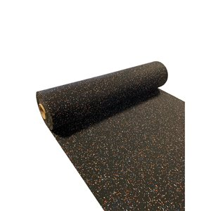 RubberMax Roll - Rubber Floor Tile - 300-in x 48-in - 100 sq ft - Black, flecked orange/blue/white