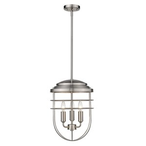 Golden Lighting Seaport 3-Light Pendant Light - Pewter