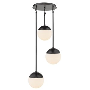 Golden Ligthing Dixon 3-Light Pendant with Opal Glass and Black Cap - Black