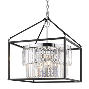 Golden Lighting Paris Chrome 5-Light Pendant Light with Black Outer Cage - Grey