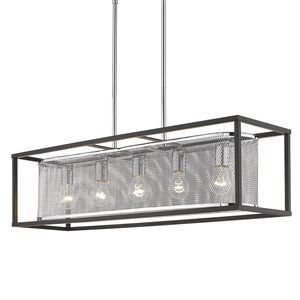 Golden Lighting London Linear Chrome Pendant Light with Black Outer Cage - Grey