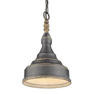 Golden Lighting Keating 1-Light Pendant Light - Antique Black Iron