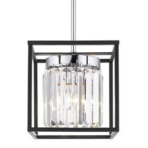 Golden Lighting Paris Mini Chrome Pendant Light with Black Outer Cage - Grey