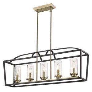 Golden Lighting Mercer 5-Light Linear Pendant Light - Matte Black