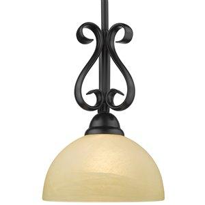 Golden Lighting Riverton Mini Pendant Light with Linen Swirl Glass - Black