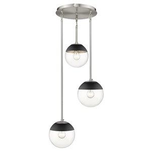 Golden Lighting Dixon 3-Light Pewter Pendant Light with Black Cap - Grey