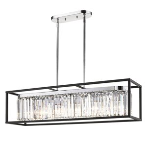 Golden Lighting Paris Linear Chrome Pendant Light with Black Outer Cage - Grey