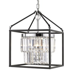 Golden Lighting Paris Chrome 3-Light Pendant Light with Black Outer Cage - Grey