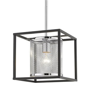 Golden Lighting London Mini Chrome Pendant Light with Black Outer Cage - Grey