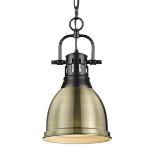 Golden Lighting Duncan Small Pendant with Chain - Black
