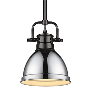 Golden Lighting Duncan Mini Pendant with Rod - Black