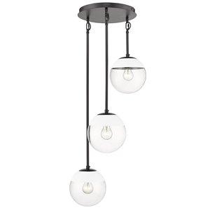 Golden Lighting Dixon 3-Light Pendant Light with White Cap - Black