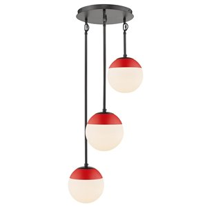Golden Lighting Dixon 3-Light Pendant in Black with Opal Glass and Red Cap