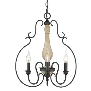 Golden Lighting Suzette 3-Light Pendant - Natural Black