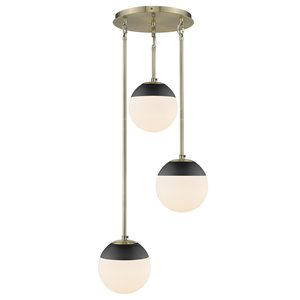 Golden Lighting Dixon 3-Light Aged Brass Pendant Light with Black Cap - Gold