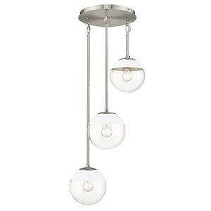Golden Lighting Dixon 3-Light Pewter Pendant Light with White Cap - Grey