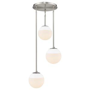Golden Lighting Dixon 3-Light Pendant with White Cap - Grey