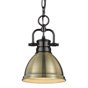 Golden Lighting Duncan Mini Pendant Light with Chain - Black