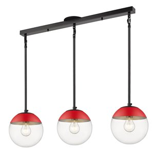 Golden Lighting Dixon Linear Clear Glass Pendant Light with Red Cap - Black
