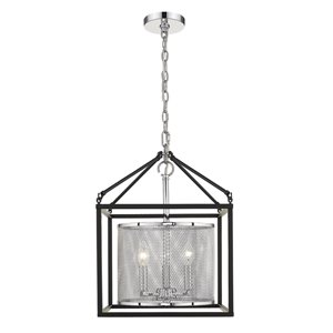 Golden Lighting London 3-Light Chrome Pendant Light with Black Outer Cage - Grey