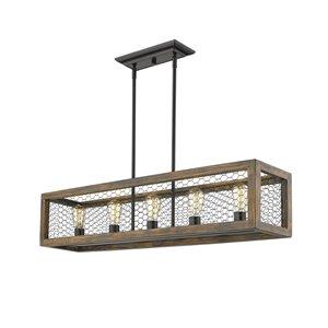 Golden Lighting Sutton 5-Light Linear Pendant Light - Black