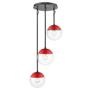 Golden Lighting Dixon 3-Light Clear Glass Pendant with and Red Cap - Black
