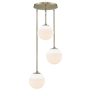 Golden Lighting Dixon 3-Light Pendant in Aged Brass with White Cap - Gold